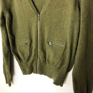 Jcrew wool cashmere cardigan zipper pockets green